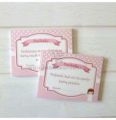 Rožinių pasižadėjimų kortelių komplektas (32 vnt) - Angeliukas