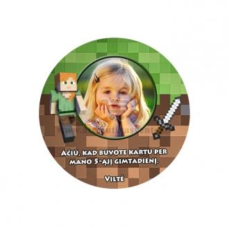 """Personalizuotas ženkliukas arba magnetukas """"Minecraft"""""""
