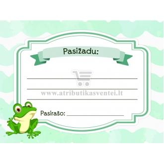 """Pasižadėjimų kortelė """"Žaliasis varliukas"""""""