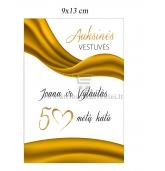 Auksinių vestuvių vyno etiketė (VMAUK-09)