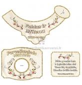 Porcelianinių vestuvių šampano etiketė (VMPOR-02)