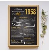"""Dovana 60 jubiliejui  """"Atgal į 1958 metus"""" - 30x40 cm"""