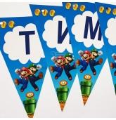 """Popierinė vėliavėlių girlianda """"Super Mario"""""""
