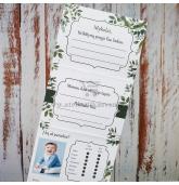 Krikštynų žaidimų kortelė 4in1 (Žali lapeliai)