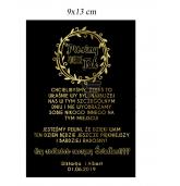 Juoda vyno etiketė, kvietimas liudininkams (lenkų kalba)
