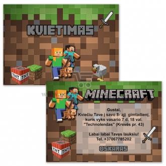 """Kvietimas į gimtadienį """"Minecraft"""""""