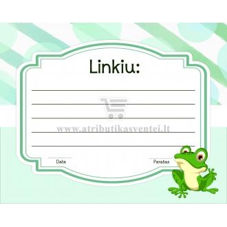 Palinkėjimų kortelė (Žaliasis varliukas)