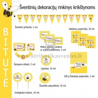 Šventinių dekoracijų rinkinys krikštynoms, Bitutė