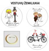 Personalizuoti vestuviniai ženkliukai