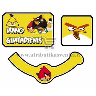 """Etiketė """"Gimtadienio šampanas"""" Angry Birds"""