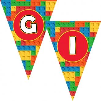 """Popierinė vėliavėlių girlianda """"Lego"""""""