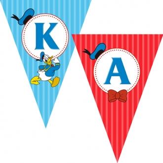 """Popierinė vėliavėlių girlianda """"Ančiukas Donaldas"""""""