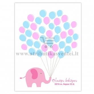"""Svečių paveikslas """"Rožinis drambliukas"""", A4 formatas"""