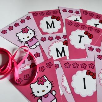 """Popierinė vėliavėlių girlianda """"Hello Kitty"""""""