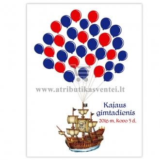 """Svečių paveikslas """"Piratų laivas"""", A4 formatas"""