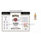"""Etiketė Jim Beam viskio buteliui """"Boso Beam"""""""