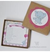 """Svečių palinkėjimų kortelė lenkų kalba """"Drambliukas"""""""