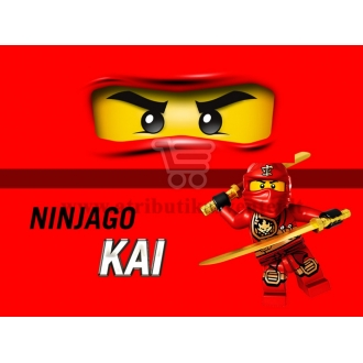 """Maža etiketė """"Lego Ninjago"""" Raudona-Kai"""