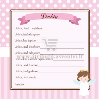 """Svečių palinkėjimų kortelė """"Angeliukas"""" rožinė"""