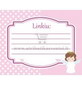 Palinkėjimų kortelė, Angeliukas (rožinė)