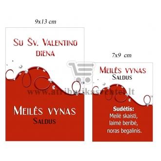 """Etiketė """"Meilės vynas - Su šv. Valentino diena"""""""