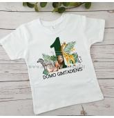 Gimtadienio marškinėliai su džiunglių gyvūnais