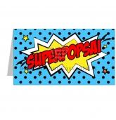 """Stalo kortelė su užrašu """"Superpopsai"""""""