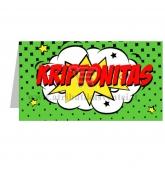 """Stalo kortelė su užrašu """"Kriptonitas"""""""