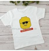 Gimtadienio marškinėliai vaikui - Lego veidukas
